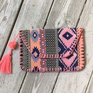 Indian cotton boho envelope clutch with tassel